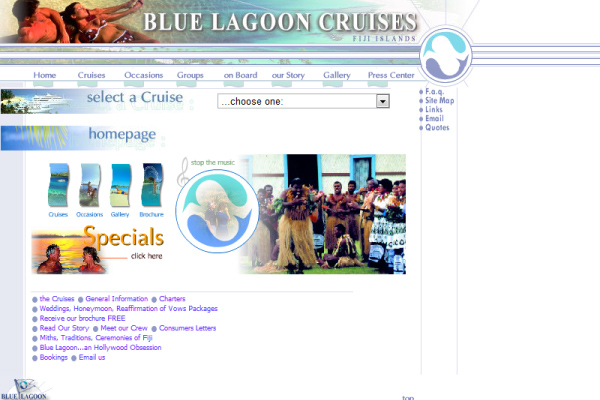 Blue Lagoon Cruises - Homepage 2001