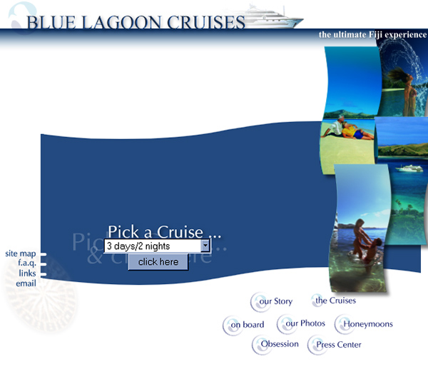 Blue Lagoon Cruises - homepage demo 2001