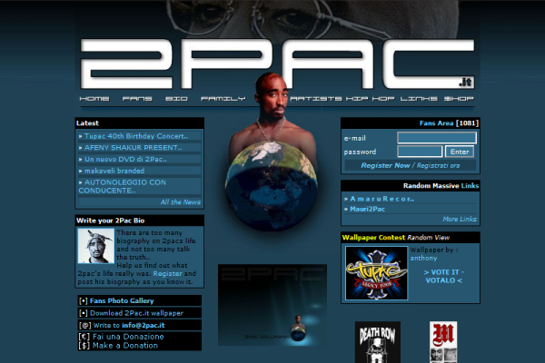 2Pac.it - Homepage 2003