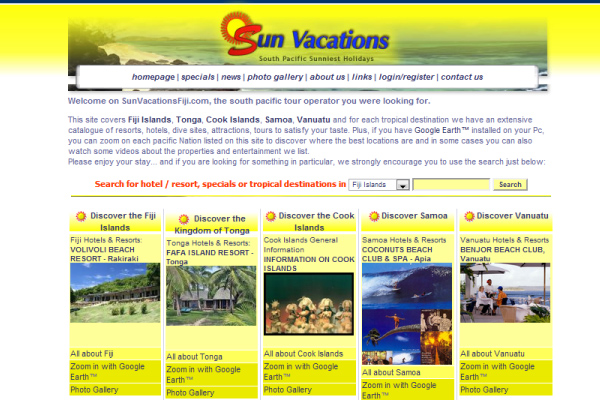 Sun Vacations Fiji - Homepage 2006