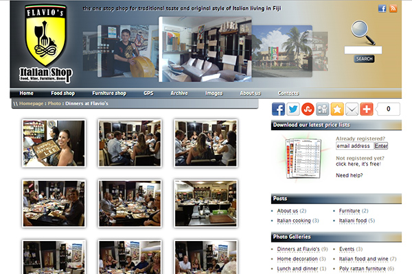 Flavio's Italian Shop - website - gallery page